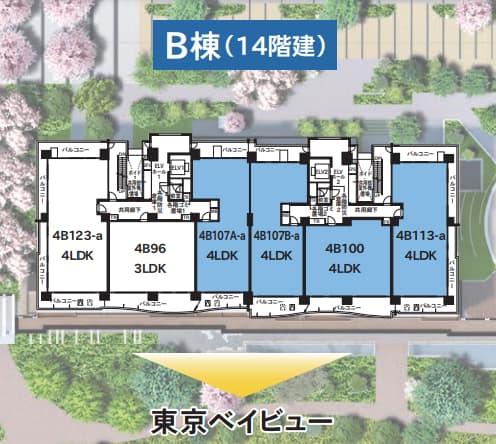 晴海フラッグSEAVILLAGE B棟の部屋の位置を説明した画像