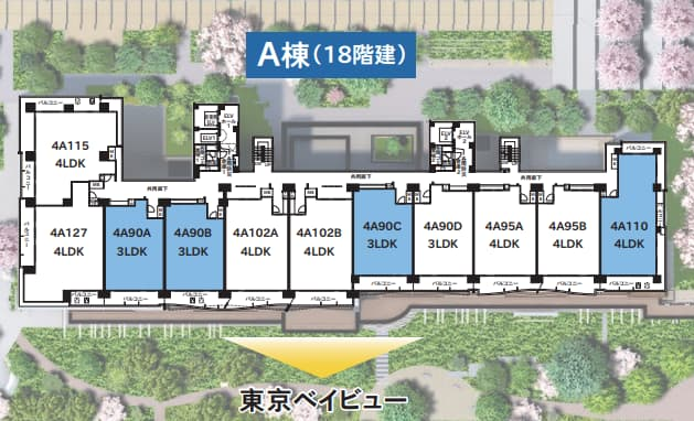 晴海フラッグA棟の部屋位置を説明した画像